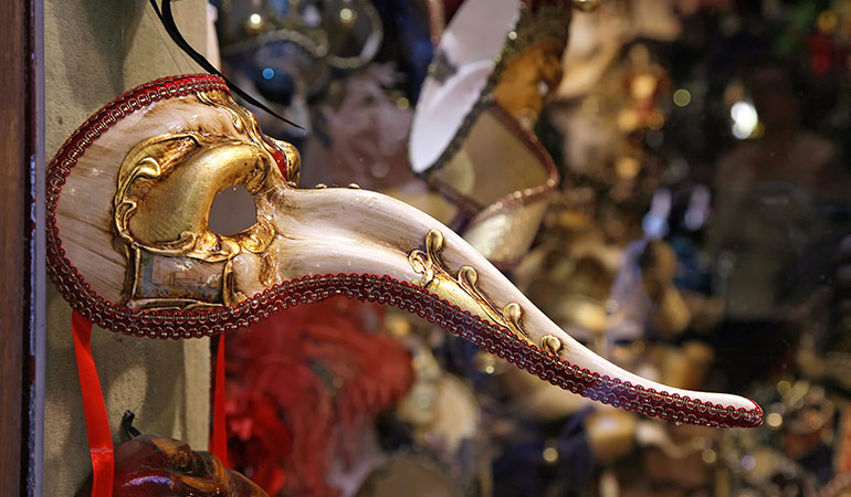 Italy! Venetian Mask Curved Zanni Parade Red and Gold Made In Venice